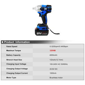 Image 2 - Electric Impact Wrench 21V Brushless Wrench Socket 4000mAh Li ion Battery Hand Drill Installation Power Tools By PROSTORMER