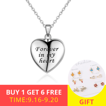 XiaoJing 925 Sterling silver forever in my heart pendant cremation urn necklace for Women custom photo memorial Jewelry