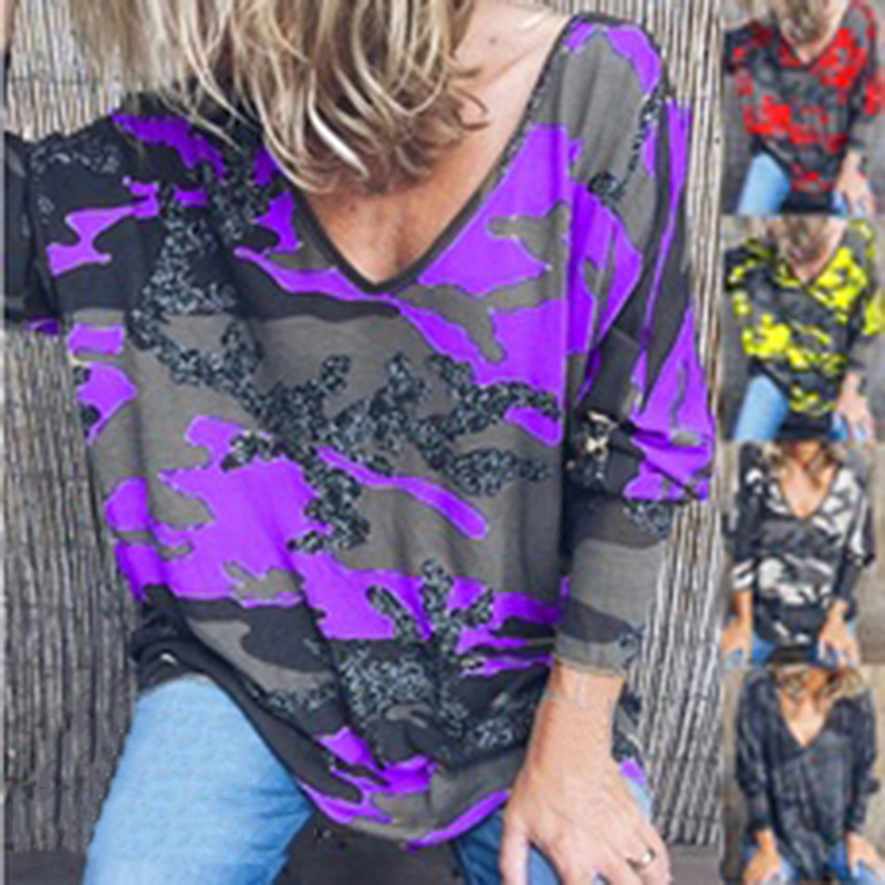 Women T-Shirt V Neck Camouflage Print Long Sleeve Tops Spring Casual Loose Ladies Tee Shirt Femme Womens Clothing Plus Size 2XL
