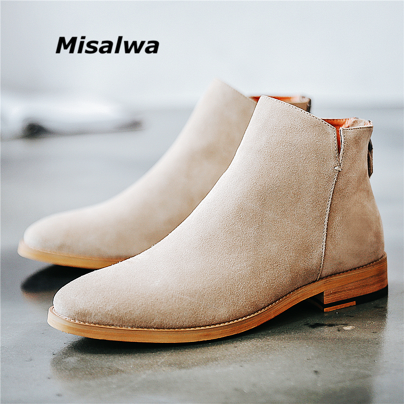 Misalwa Vintage Basic Sand Color Men Suede Chelsea Boots Natural Leather Zip Pointed Toe Formal Ankle Boots Men Wood Sole
