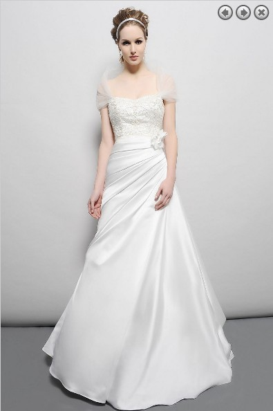 Free Shipping Vintage 2016 New Designer Bridal Gown Plus Size Sain Simple Maxi White Long Dress Beaded Wedding Party Dresses
