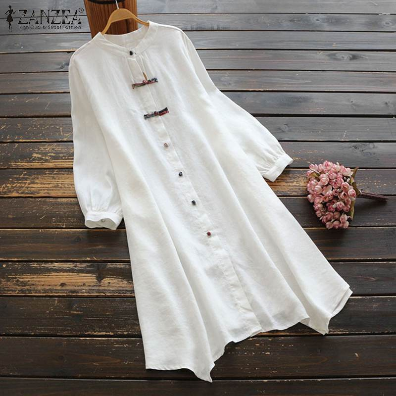 ZANZEA Women Vintage Cotton Linen Dress Spring Long Sleeve Buttons Down Shirt Vestido Plus Size Summer Sundress Casual Loose Top