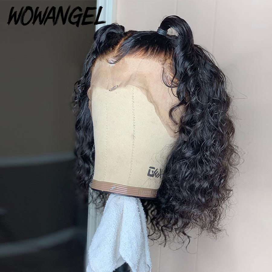 Wowangel Curly 4X4 Lace Front Human Hair Wigs With Baby Hair Brazilian Remy Hair Short Curly Bob Wigs For Women Pre-Plucked Wig