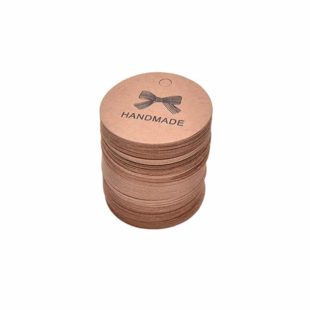 100 개/몫 레이블 수 제 Bowknot 크 래 프 트 레이블 빈티지 레이블 DIY 손으로 만든 선물 케이크 베이킹 씰링 Hang 태그 갈색 의류