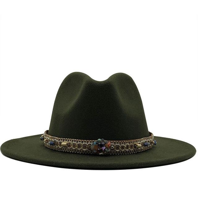 Sombrero Fedora de lana con lazo de cuero con visera de jazz