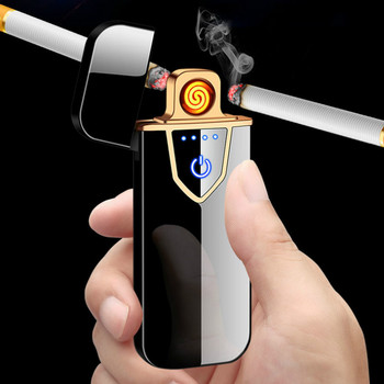 цена на USB Charging Lighter Touch Screen Electronic Cigarette Personalized Double-sided Windproof Flameless Rechargeable Lighter