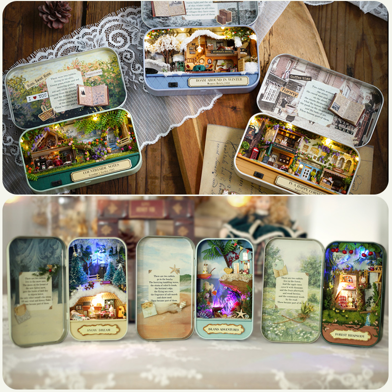 Cutebee Box Theatre Dollhouse Furniture Miniature <font><b>Toy</b></font> DIY miniature Doll house Furnitures <font><b>Toys</b></font> <font><b>for</b></font> <font><b>Children</b></font> Birthday Gift V4 image