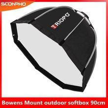 TRIOPO 90cm אוקטגון Softbox מפזר רפלקטור Bowens הר אור תיבת עבור צילום סטודיו Strobe פלאש אור אביזרים