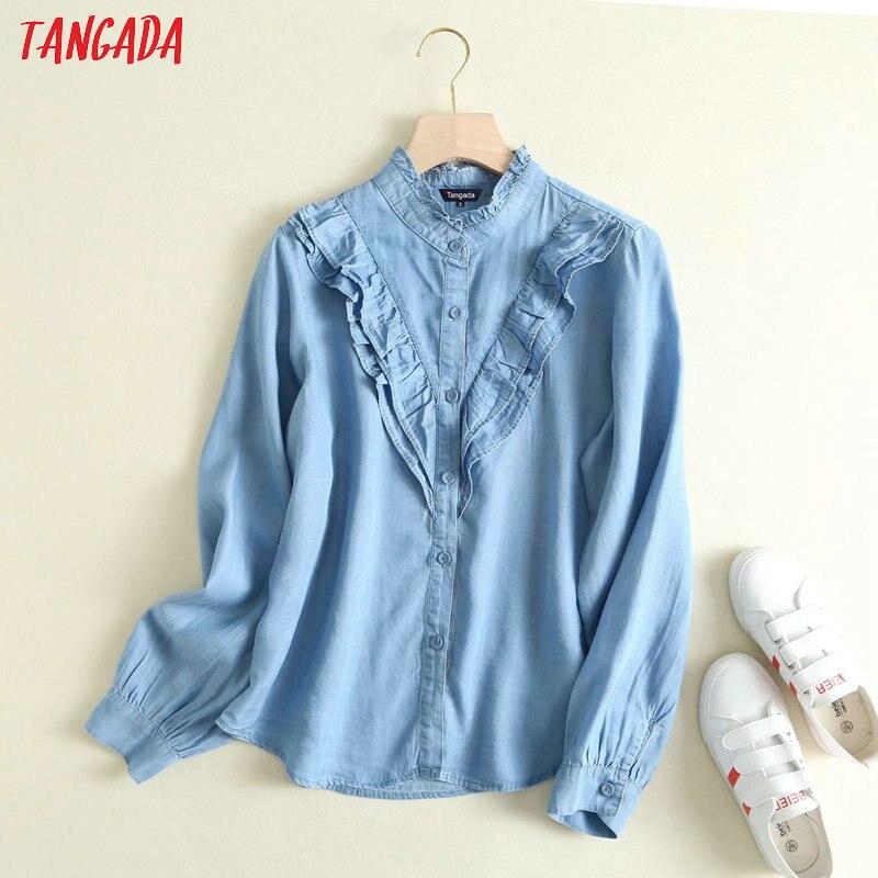 Tangada 2020 Fashion Women Chic Ruffles Denim Blouse Long Sleeve Female Casual Shirts Stylish Tops Blusas 2P01