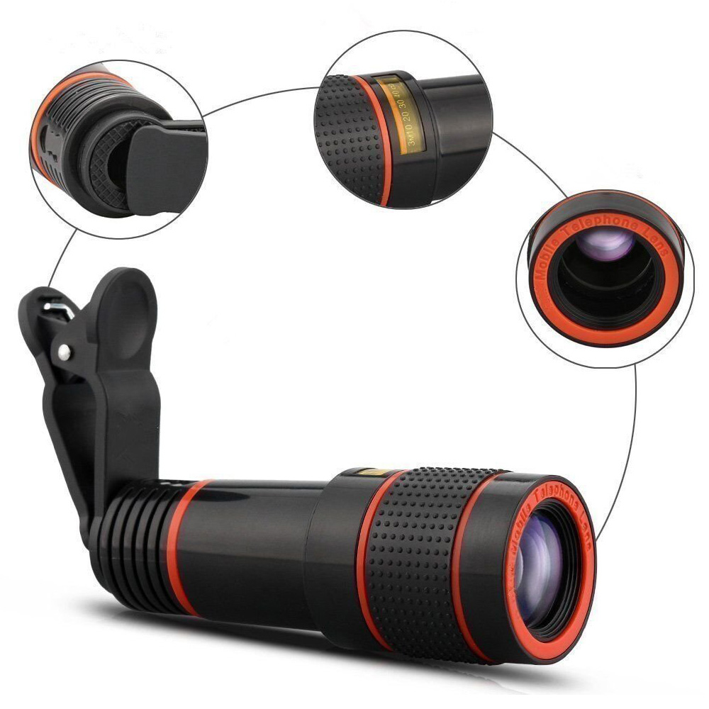 8X 12X Mobile Phone Camera Lens Zoom Telephoto Lens External Telescope with Universal Clip for Iphone Camera Lens Smartphone