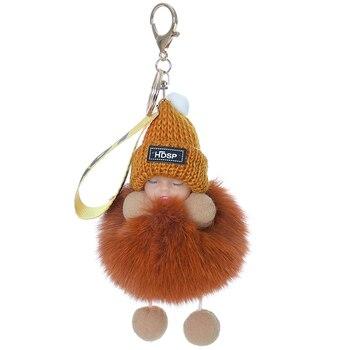 Fox fur ball pendant sleeping doll cute little doll bag pendant exquisite accessories car key chain