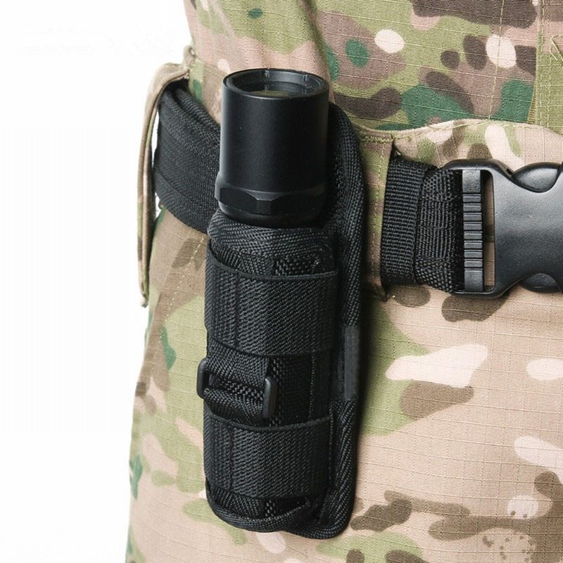 Tactical 360 Degrees Rotatable Flashlight Pouch Holster Torch Case for Belt Cover Hunting Lighting Accessories