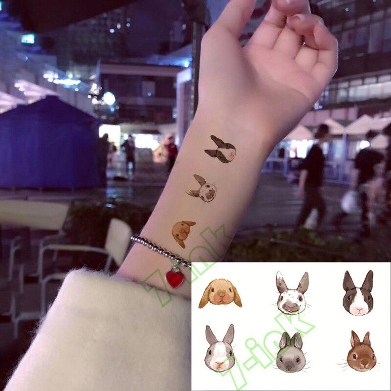 Water Transfer Fake Flsh Tattoo Cute Cartoon Gray Rabbit Bird Flower Waterproof Temporary Tattoo Sticker  For Adults  Kids