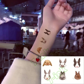 Water Transfer fake flsh tattoo cute cartoon gray rabbit bird flower Waterproof Temporary Tattoo sticker  for adults  kids