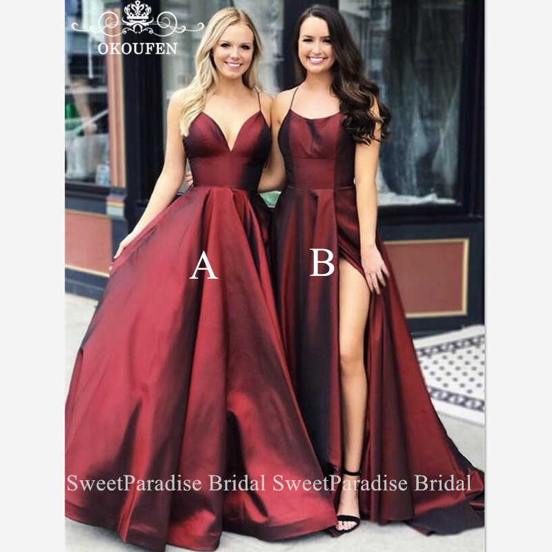 Burgundy Satin Bridesmaid Dresses Spaghetti Strap Long Vestido Madrinha Long Maid Of Honor Wedding Guest Dress For Women