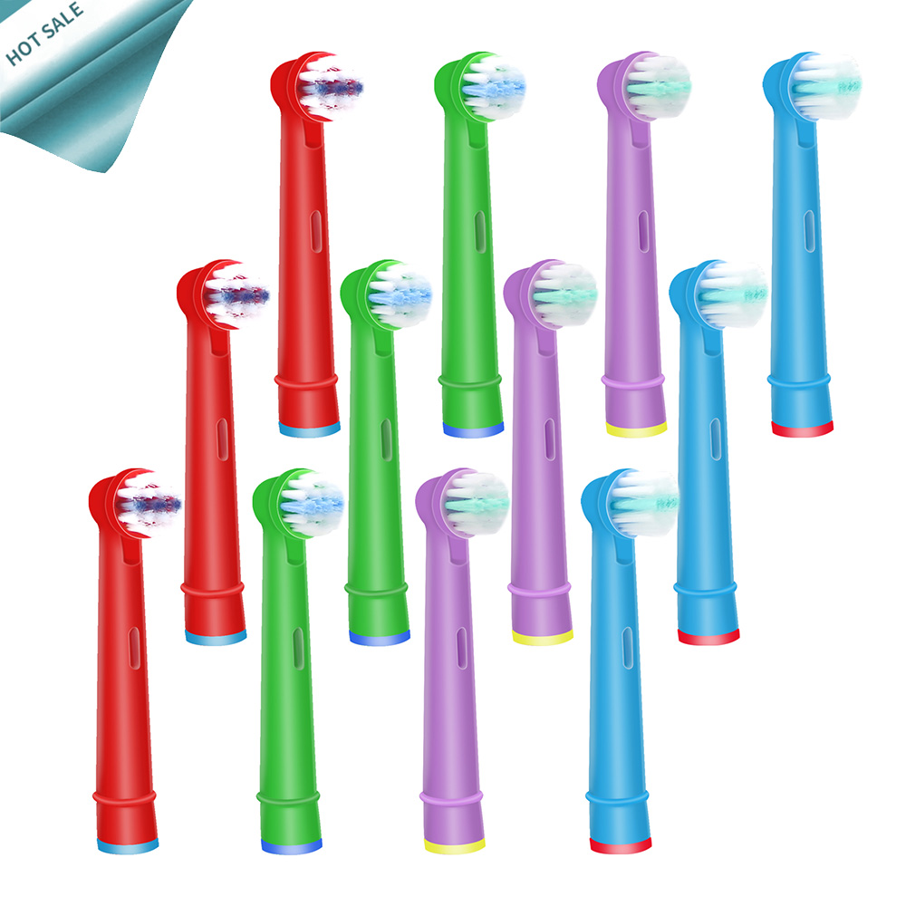 12pcs Replacement Kids Children Tooth Brush Heads For Oral B EB-10A Pro-Health Stages Electric Toothbrush Oral Care, 3D Excel image