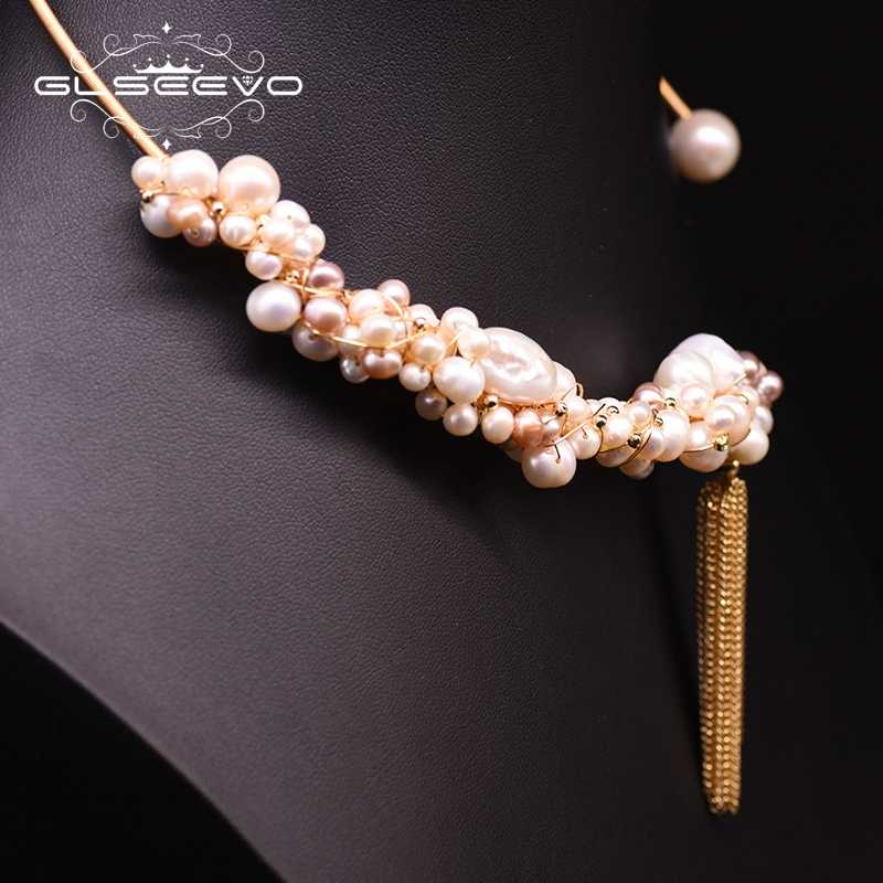 GLSEEVO اليدوية لؤلؤ مستزرع في الماء العذب الشرابة المختنق قلادة للنساء الفاخرة بيان قلادة بيجو غرامة مجوهرات GN0180