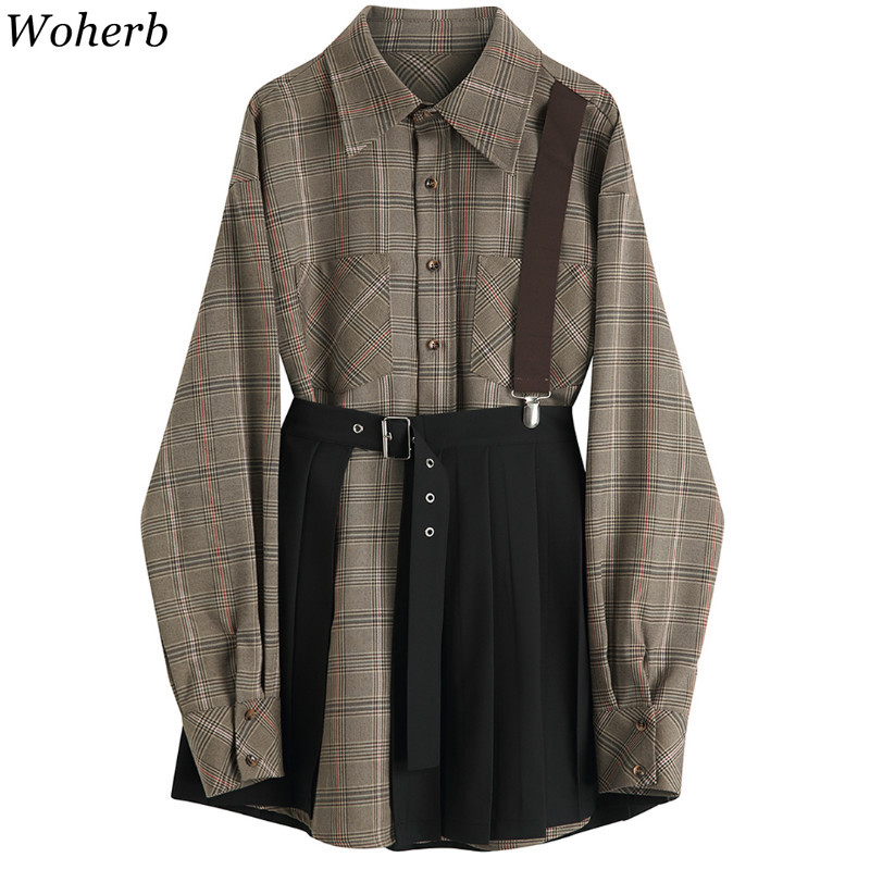 Woherb Vintage Two Piece Set Women Long Sleeve Plaid Blouses Solid Color Pleated Skirts Female Korean Fashion New Outfits 91411