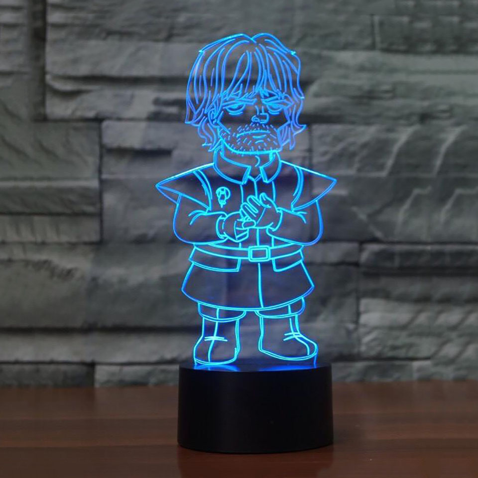 Game of Throne Tyrion Lannister 3D LED RGB Night Light 7 Color Change Desk Light Action Figures 2927 Kids Home Christmas Toys image