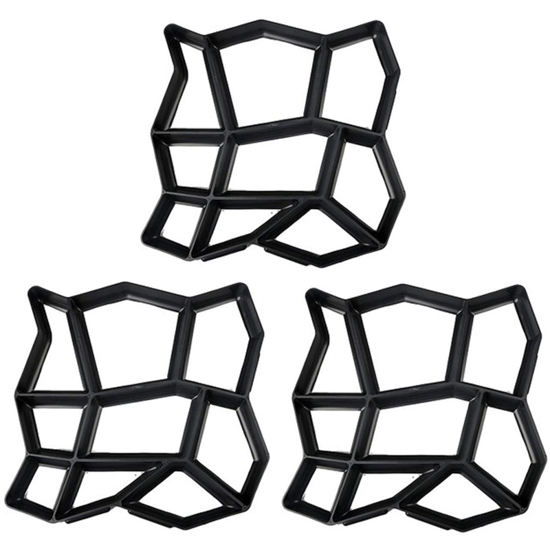 3 Pack Onregelmatige Diy Bestrating Mal Lopen Maker Path Maker Brick Mold Beton Vorm Pathmate Stepping Stone Mallen Voor Tuin, cour