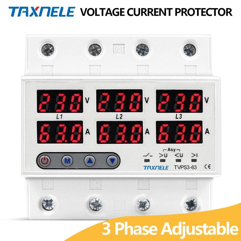 3 Трехфазное Напряжение Ток защита реле 63A 60A 220 В 3P + N реле напряжения ограничитель тока Регулируемая Защита