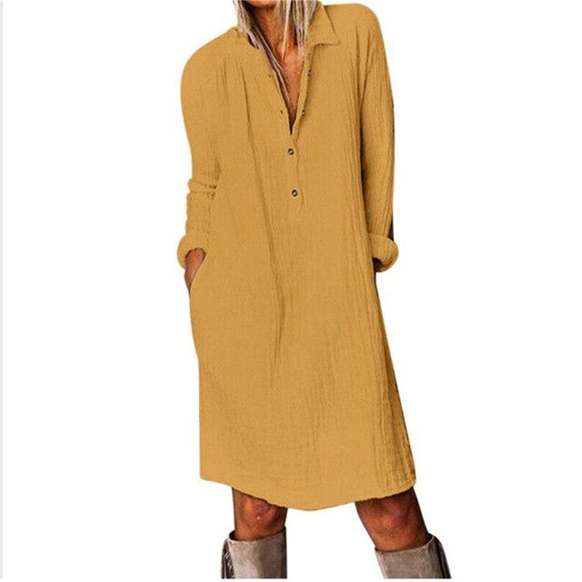 Cotton Linen Women Dress 2020 Spring Autumn Loose Plus Size Casual Vestidos Long Sleeve Nature Button Turn Down Collar Dresses 5