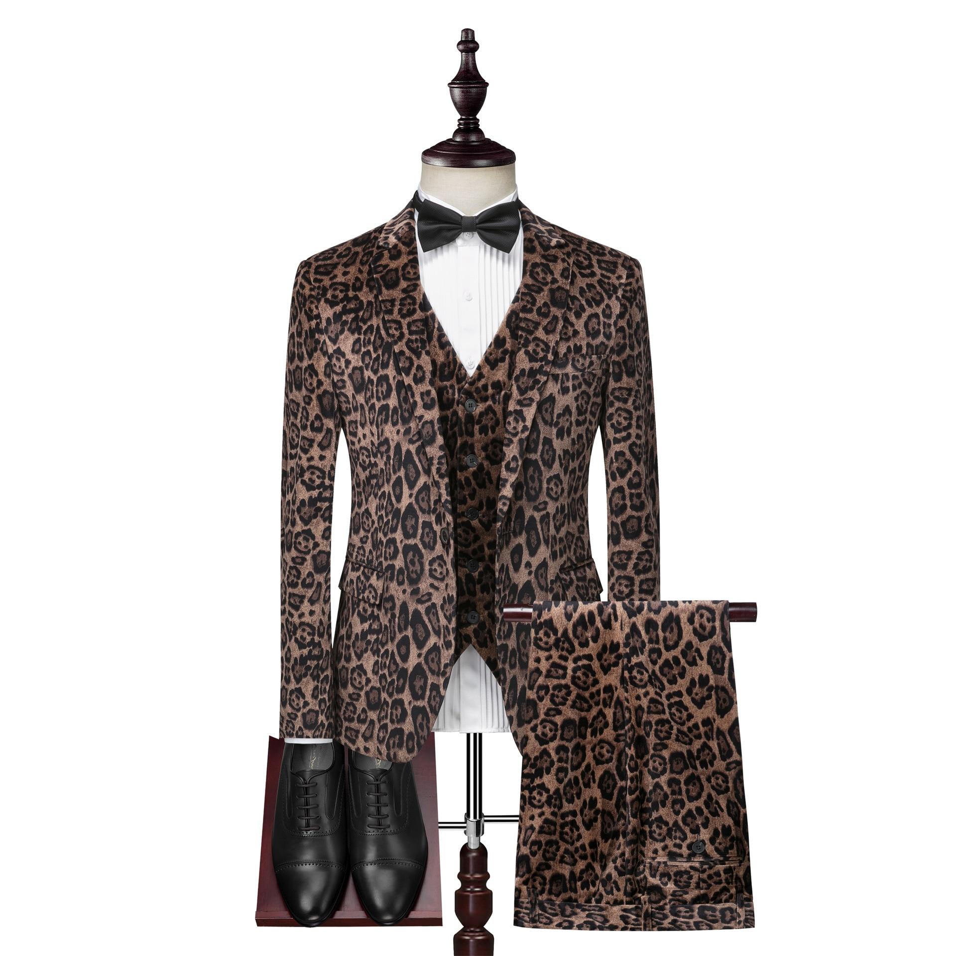 2020 Men Single-Button Suit New Style Leopord Pattern Printing Crafts Velvet Suit Set Three Pieces