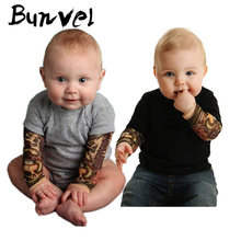 bunvel Baby Rompers Tattoo Sleeve Printing Toddler Newborn Baby Girls Boys Tattoo Rompers Jumpers Kids Baby Outfits Clothes 35 cheap Polyester Fashion Baby Tattoo Rompers Spring Autumn Patchwork O-Neck Bodysuits Unisex Full Fits true to size take your normal size
