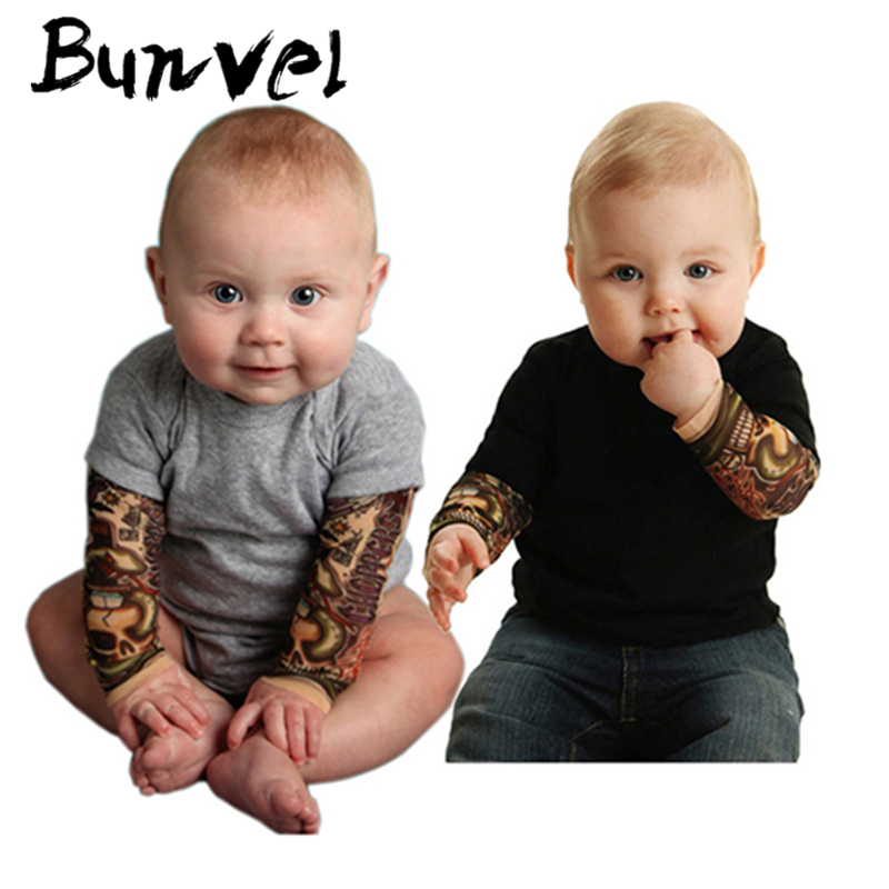 Bunvel Baby Rompers Tattoo Sleeve Printing Toddler Newborn Baby Girls Boys Tattoo Rompers Jumpers Kids Baby Outfits Clothes 35