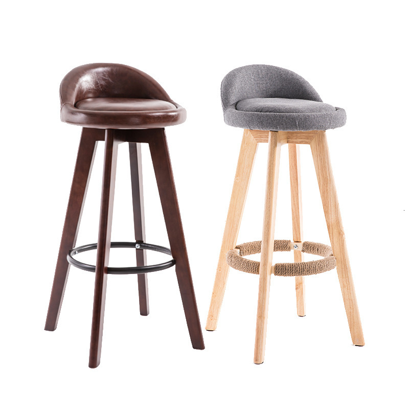 Wood Bar Platform Chair Modern Concise Tea With Milk Shop High Foot Chair Stool Household Rotating Originality High Bar Chair
