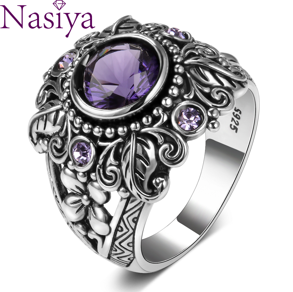 Vintage 100% 925 Sterling Silver Jewelry Created Purple Amethyst Gemstone Rings For Women Men Anniversary Gift