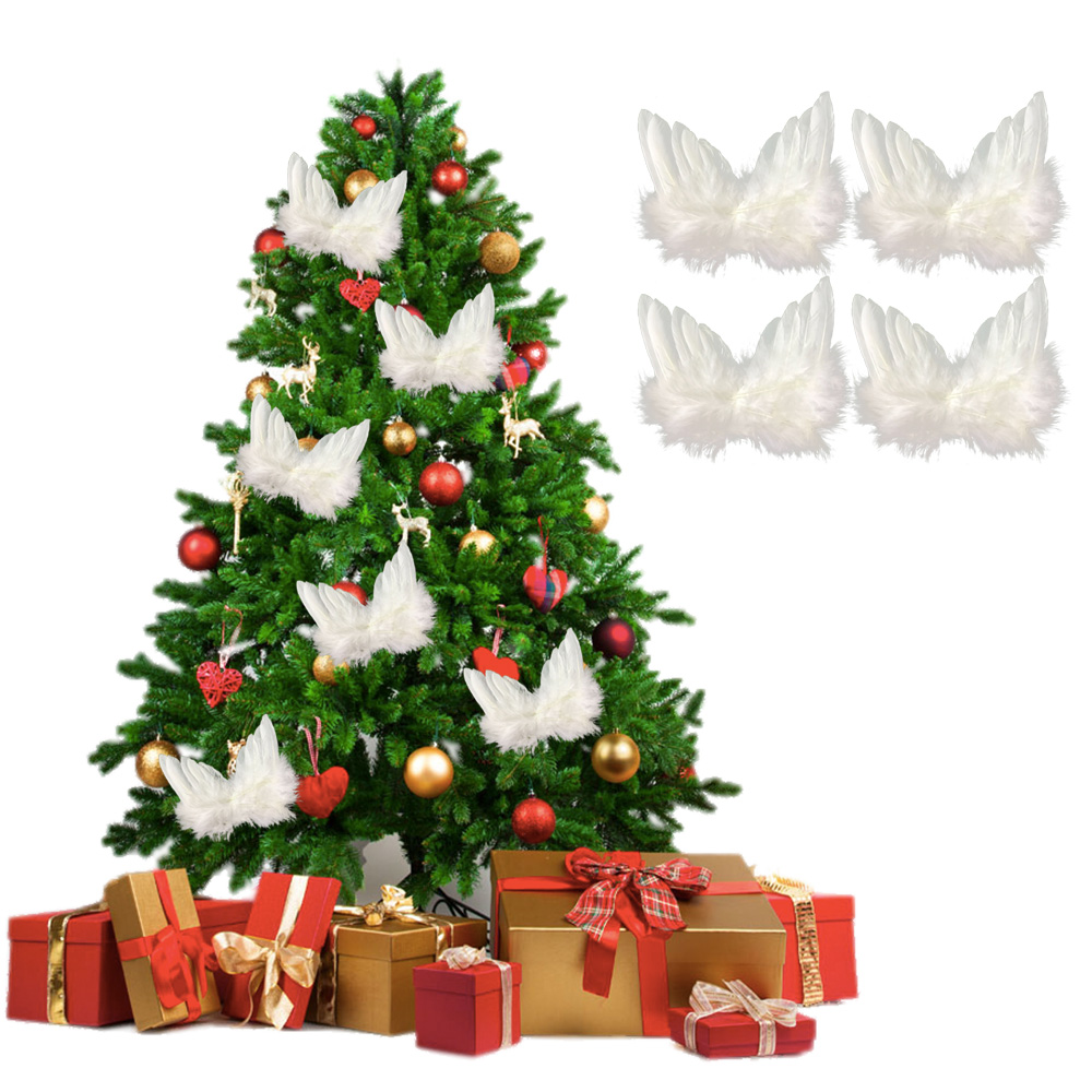 Behogar 10pcs Mini White Feather Wing Christmas Tree Decor Hanging Ornaments <font><b>for</b></font> <font><b>Xmas</b></font> <font><b>Holiday</b></font> Wedding <font><b>Home</b></font> Party <font><b>Decorations</b></font> image