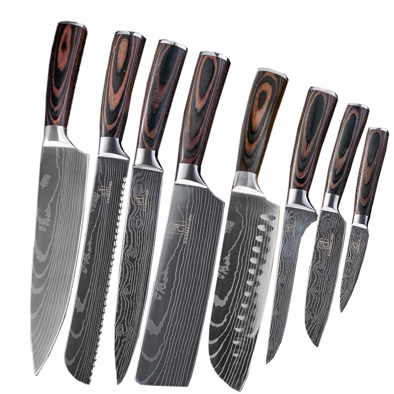 DAOMACHEN 8 sets kitchen knives Laser Damascus pattern chef knife Sharp Santoku Cleaver Slicing Utility Knives Free shipping title=