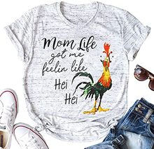 NCLAGEN 2020 Women Top Mom Life Cock Pattern Printed Round Neck Cotton Short Sleeve T-shirt Graphic Tees Vintage Slogan T Shirt(China)
