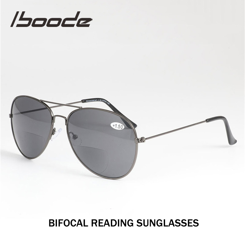 Iboode Bifocal Reading Sun Glasses For Women Men Unisex Far Near Reading Presbyopia Sunglasses With Diopter +1.0 To +3.5 Oculos