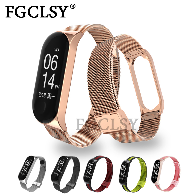 FGCLSY Mi Band 3 4 Wrist Strap Metal Screwless Stainless Steel Bracelet For Xiaomi Mi Band 4 3 Strap Miband 4 3 Wrist Strap