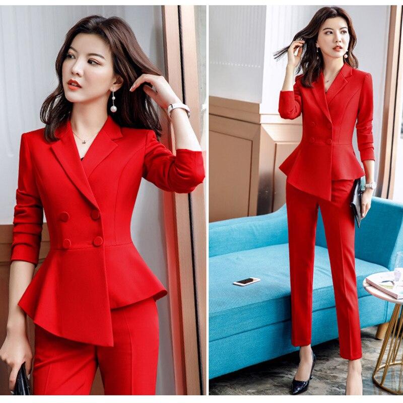 Paris Girl Women Red Blazer Slim Spring Autumn New Elegant Office Lady Jacket Work Suit Ruffled Double Breasted Blazer Solid