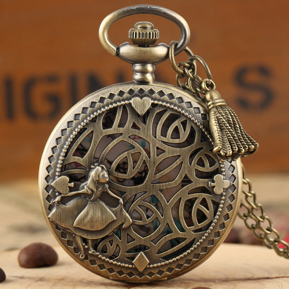 Bronze Lovely Princess Alice In Wonderland Theme Hollow Quartz Pocket Round Dial Pendant Clocks For Girls With Tassel Accessory