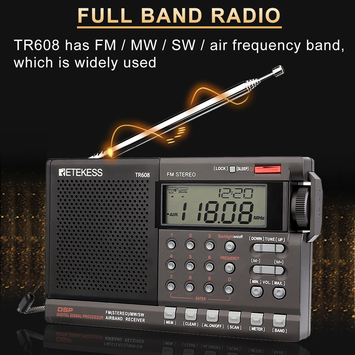 Retekess TR608 Air Band Radio FM / MW/ SW Portable Digital Radio Speaker with Clock Alarm Sleep timer for airport(China)