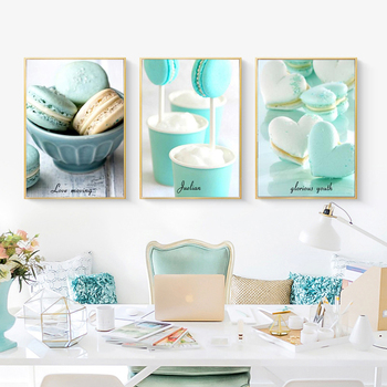 Nordic kitchen decoration canvas art dessert food painting green mint macarone Poster Wall Art Printing home pictures