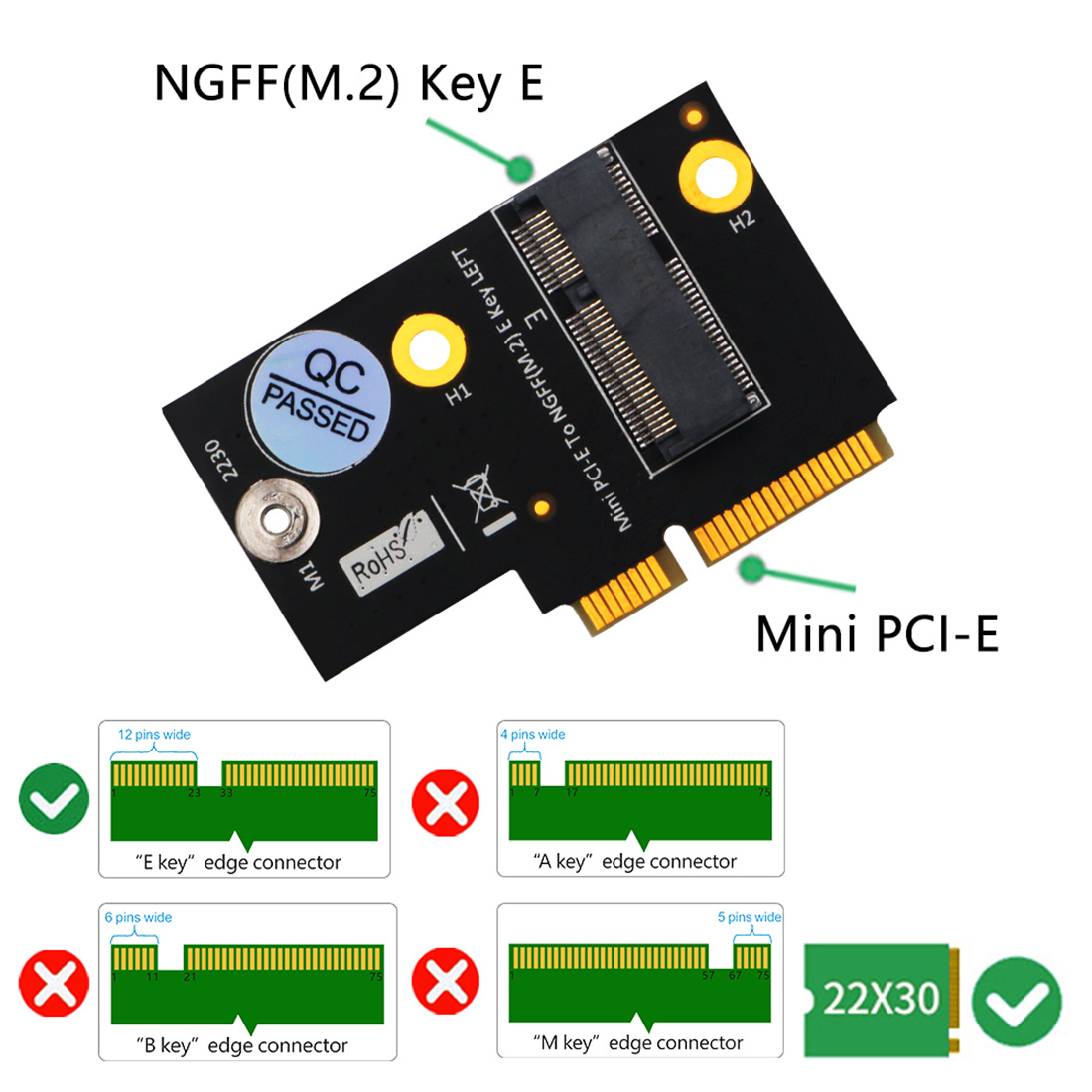 M.2 Adapter For Ngff Key E To Half-size Mini Pci-e Expansion Card For Wifi6 Ax200, 9260, 8265 ,8260 ,7265 Card And Y510p Model Colours Are Striking