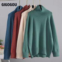 Cashmere Sweater Jumper Turtleneck Basic Pullover Oversized Long-Sleeve GIGOGOU Winter Women