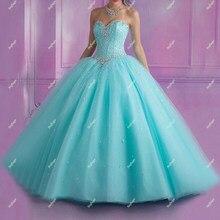 Światło niebieskie sukienki Quinceanera Puffy suknie balowe świecący koraliki kryształowe z koronką słodkie 15-sukienka absolwent zaangażowanie Celebrity