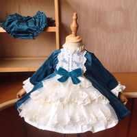 Bebé niña Otoño e Invierno de manga larga de terciopelo de pavo real turco azul español Vintage vestido de fiesta de princesa vestido para niña de Navidad