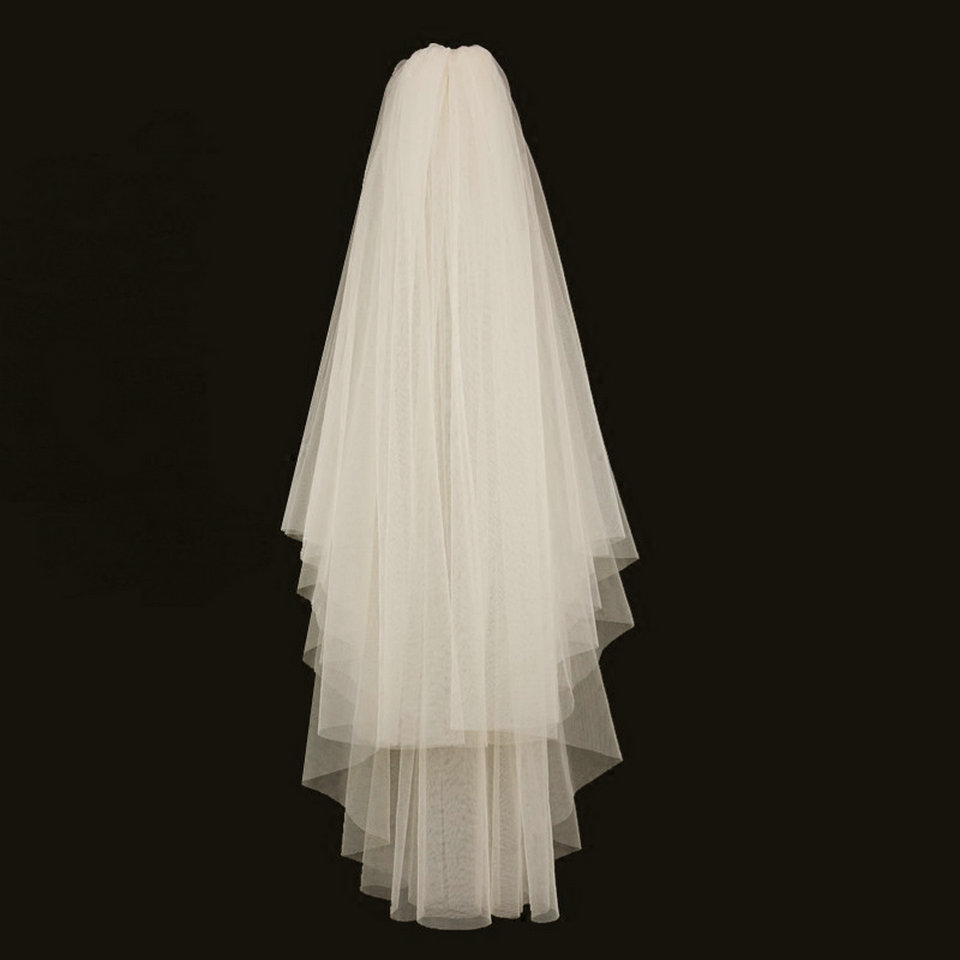 Simple Two Layers Short Tulle White Wedding Veils Cheap 2019 Ivory Bridal Veil For Bride For Mariage Wedding Accessories