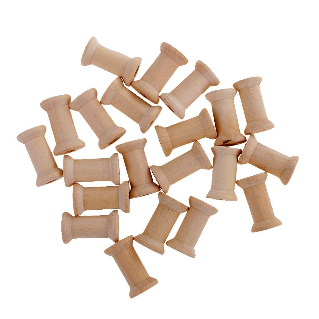50 pçs linha vazia bobinas carretéis de madeira inacabado acessórios de costura de cor natural