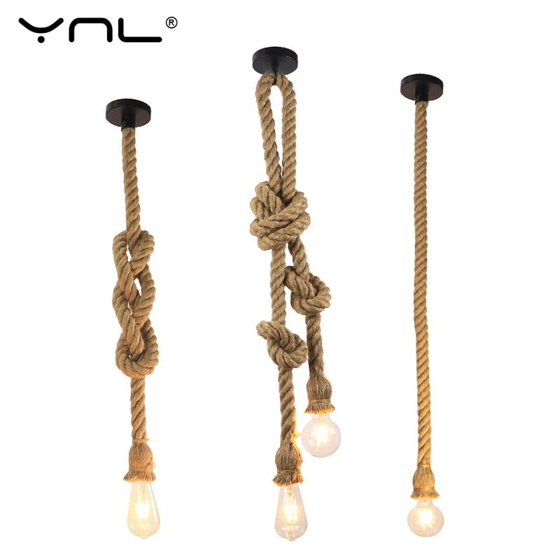 Vintage Pendant Lights E27 LED Single Double Hemp Rope Hang Lamp DIY Retro Loft Hanging Lighting Modern Lights Restaurant Decor
