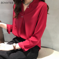 Рубашка женская, весенне-летняя, модная, универсальная, в Корейском стиле, элегантная, однотонная, простая, офисная, для девушек, для работы