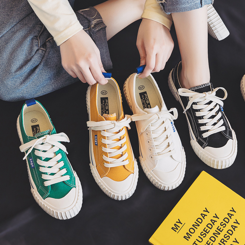 Women Canvas Shoes Fashion Sport Sneakers Color Casual  Flats White Shoes Korean Style 2020 Summer New Lace-Up
