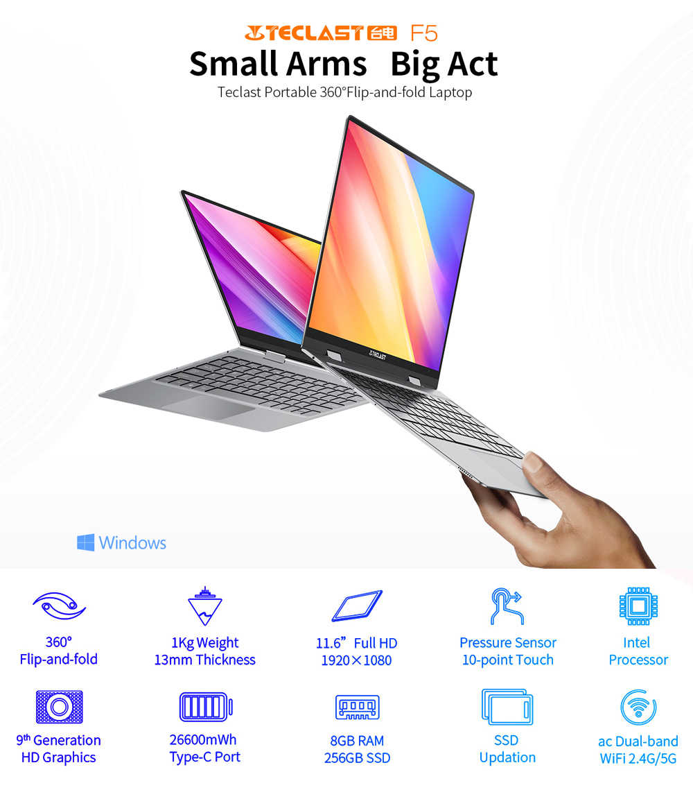 Teclast F5 מחשב נייד מחברת 8GB RAM 256GB SSD מגע מסך מחשב Intel תאומים אגם N4100 1920*1080 טעינה מהירה 360 מסתובב